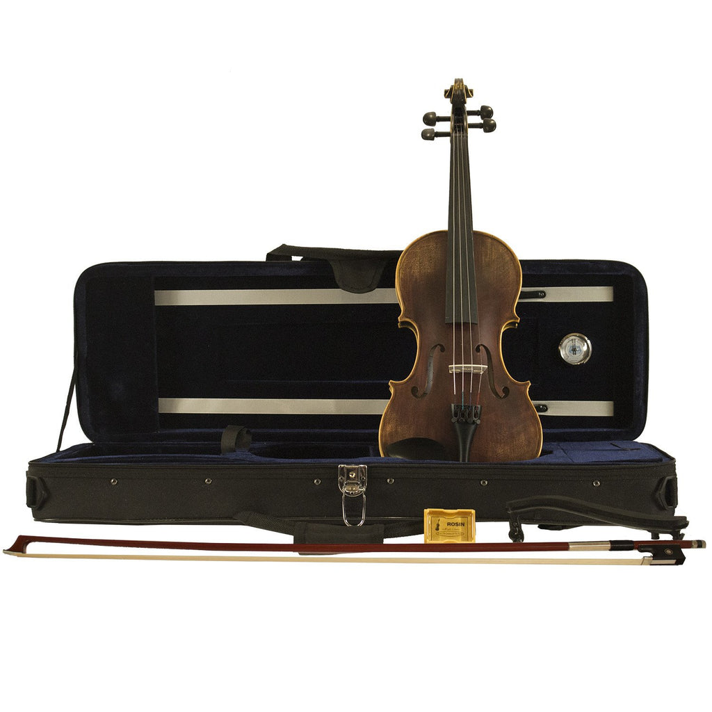 Sawtooth Carved Solid Spruce Top Violin, with Ebony Fingerboard, & Solid Flame Maple Back and Sides, Satin Antique