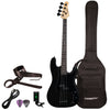 Sawtooth EP Series Electric Bass Guitar with Gig Bag & Accessories, Satin Black w/ Black Pickguard
