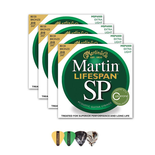 Martin MSP6000 SP Lifespan 80/20 Bronze Acoustic String, Extra Light, 10-47, 4 Packs with ChromaCast 4 Pick Sampler