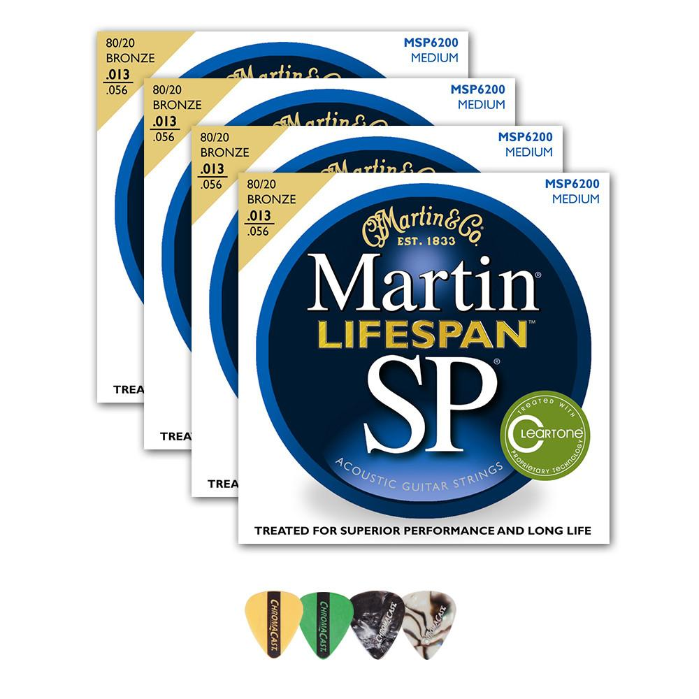 Martin MSP6200 SP Lifespan 80/20 Bronze Acoustic Guitar Strings, Medium, 13-56, 4 Packs with ChromaCast 4 Pick Sampler