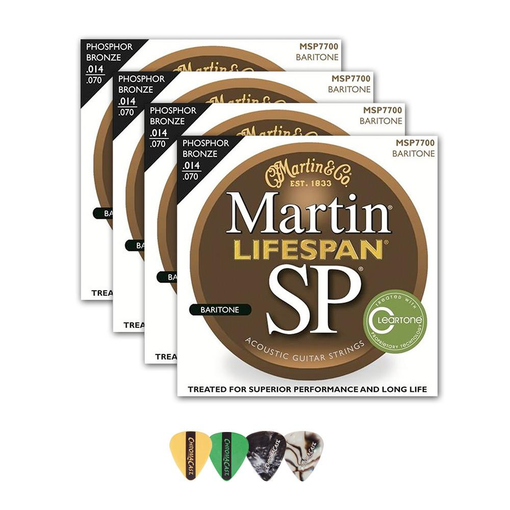 Martin MSP7700 SP Lifespan 92/8 Phosphor Bronze Acoustic String, Baritone Guitar, 14-70, 4 Packs with ChromaCast 4 Pick Sampler