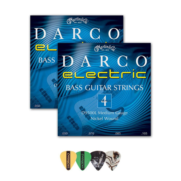 Martin D9500L Darco Nickel Plated Bass Guitar Strings, Medium, .050-.105, 2 Packs with ChromaCast 4 Pick Sampler