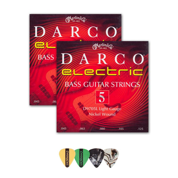 Martin D9705L Darco Nickel Plated 5-String Bass Guitar Strings, Light, .045-.125, 2 Packs with ChromaCast 4 Pick Sampler