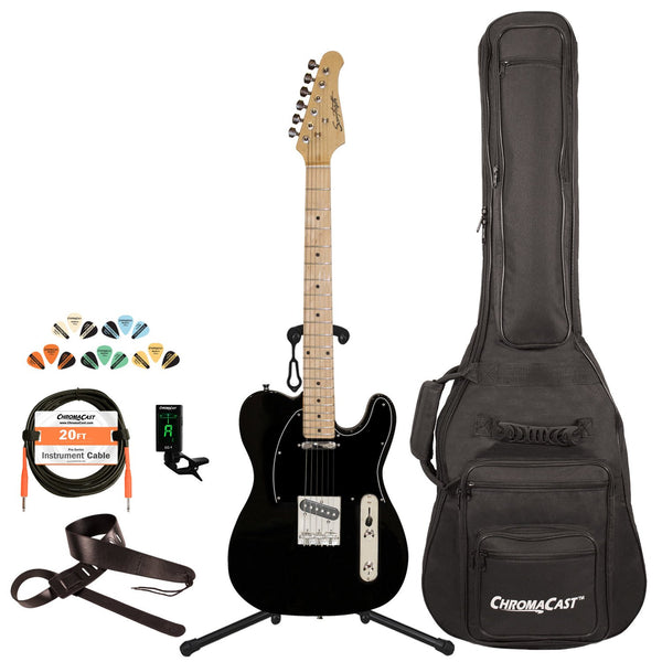 Sawtooth Classic ET 50 Ash Body Electric Guitar, Black w/ Black Pickguard with ChromaCast Gig Bag & Accessories