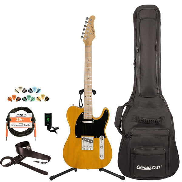 Sawtooth Classic ET 50 Ash Body Electric Guitar, Butterscotch w/ Black Pickguard, with ChromaCast Gig Bag & Accessories