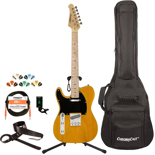 Sawtooth Classic ET 50 Ash Body Left Handed Electric Guitar, Butterscotch w/ Black Pickguard, with ChromaCast Gig Bag & Accessories