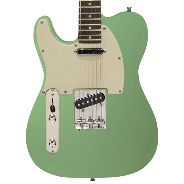 Sawtooth Classic ET 50 Ash Body Left Handed Electric Guitar, Surf Green w/ Aged White Pickguard