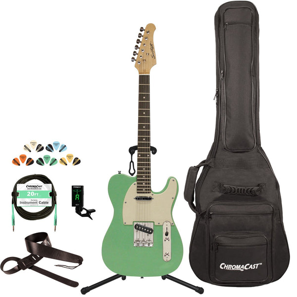 Sawtooth Classic ET 50 Ash Body Electric Guitar, Surf Green w/ Aged White Pickguard, with ChromaCast Gig Bag & Accessories