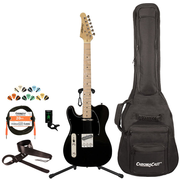 Sawtooth Classic ET 50 Ash Body Left Handed Electric Guitar, Black w/ Black Pickguard, with ChromaCast Gig Bag & Accessories