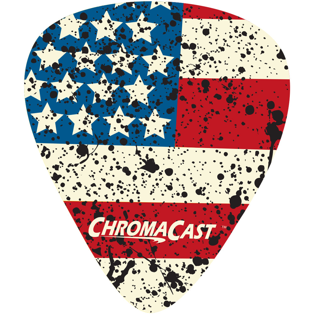 ChromaCast USA Flag Guitar Picks, Light Gauge(.45mm), 30-Pack