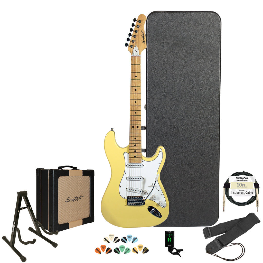 Sawtooth Citron Vanilla Cream ES Series Electric Guitar w/ White Pickguard - Includes: Accessories, Sawtooth 25W Amp, Hard Case & Online Lesson
