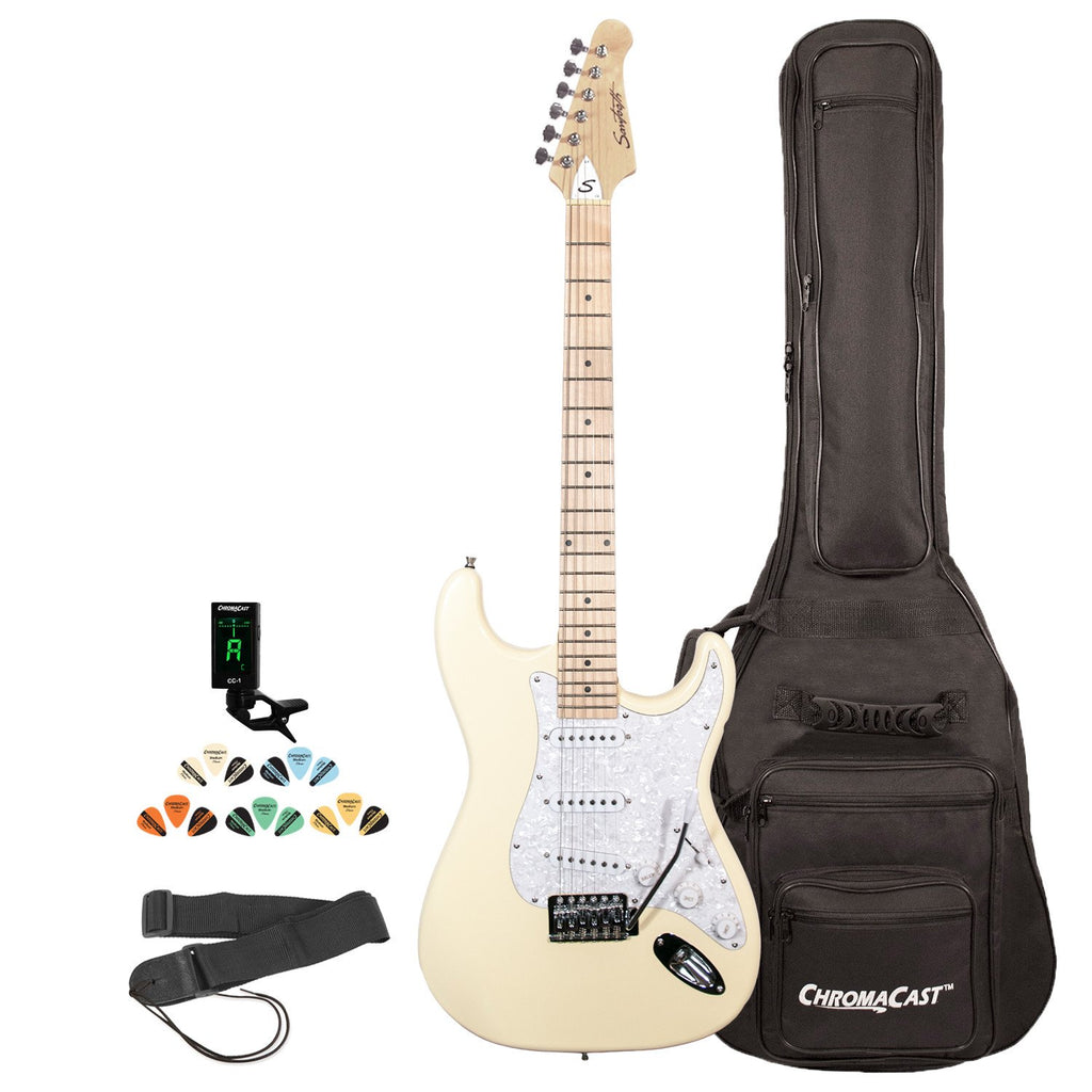 Sawtooth Citron Vanilla Cream ES Series Electric Guitar w/ Pearl Pickguard - Includes: Accessories, Gig Bag & Lesson