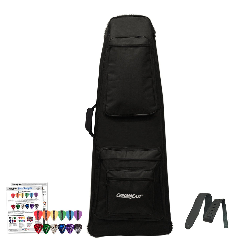 ChromaCast Electric Guitar Padded Bag for Extreme Body Shapes with Strap and Picks