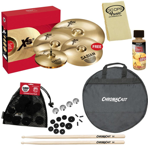 "Sabian XSR5005GB XSR Performance Set with Free 18"" Fast Crash, ChromaCast Cymbal Bag, & Accessories"