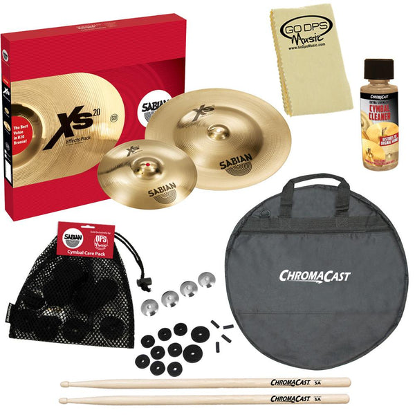 SABIAN XS5005EB Xs20 Effects Pack, Brilliant Finish, with ChromaCast Cymbal Bag & Accessories