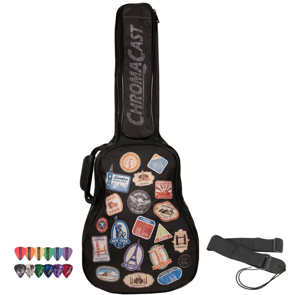 ChromaCast World Tour Graphic Two Pocket Acoustic Guitar Padded Gig Bag with Guitar Strap & Pick Sampler