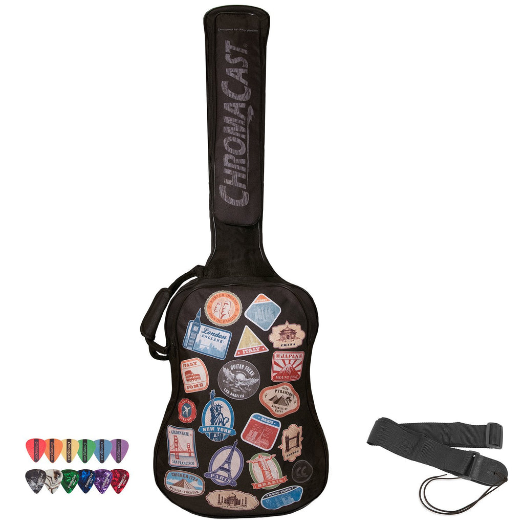 ChromaCast World Tour Graphic Two Pocket Bass Guitar Padded Gig Bag with Guitar Strap & Pick Sampler