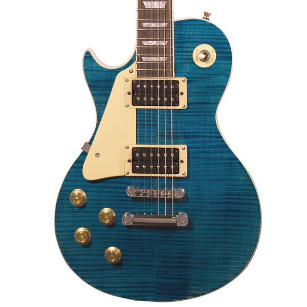 Sawtooth Heritage Series Left-Handed Flame Maple Top Electric Guitar, Cali Blue Flame