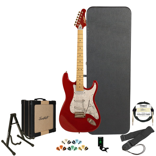 Sawtooth Candy Apple Red ES Series Electric Guitar w/ Pearl White Pickguard - Includes Accessories, Sawtooth Amp, Hard Case & Online Lesson
