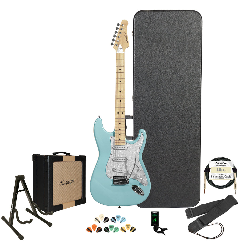 Sawtooth Daphne Blue ES Series Electric Guitar w/ Pearl White Pickguard - Includes: Accessories, Sawtooth Amp, Hard Case & Online Lesson
