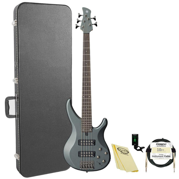 Yamaha TRBX305 MGR Electric 5-String Bass Guitar Kit with ChromaCast Hard Case and Accessories, Mist Green