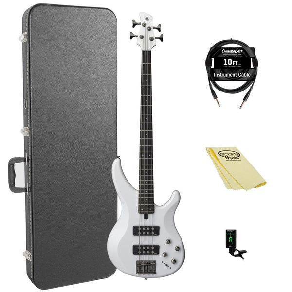Yamaha TRBX304 WH-KIT-1 Electric Bass Guitar Kit with ChromaCast Hard Case and Accessories, White