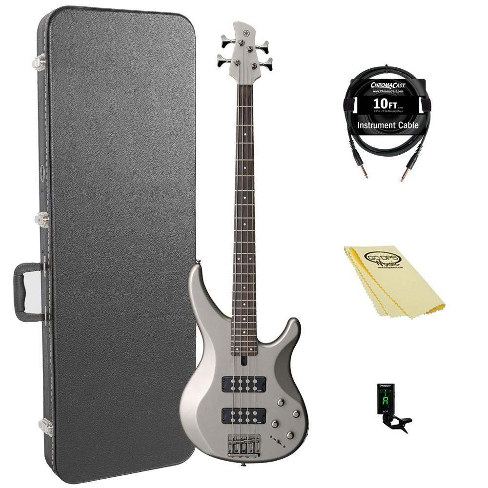 Yamaha TRBX304 PWT-KIT-1 Electric Bass Guitar Kit with ChromaCast Hard Case and Accessories, Pewter