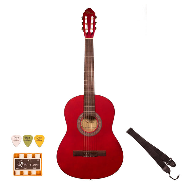 Rise by Sawtooth 3/4 Size Beginner's Acoustic Guitar with Accessories, Satin Red Stain