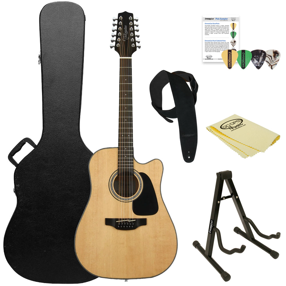Takamine GD30CE-12 NAT-KIT-2 Dreadnought 12-String Cutaway Acoustic-Electric Guitar w/ Hard Case & Accessories