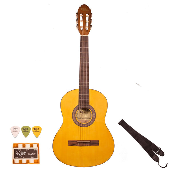 Rise by Sawtooth 3/4 Size Beginner's Acoustic Guitar with Accessories, Satin Gold Stain