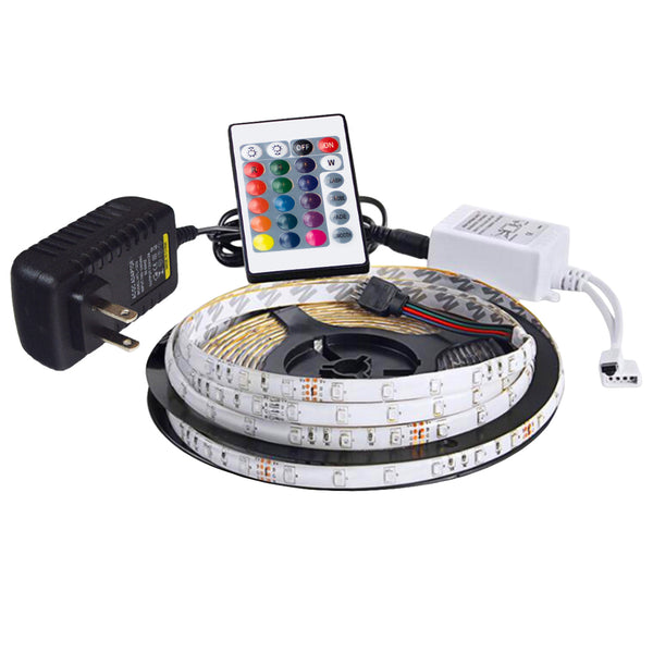 Chromacast Waterproof Flexible LED Light Strip kit RGB LED Lights with adhesive, Includes Remote Control, Power Adaptor, 16.5 ft