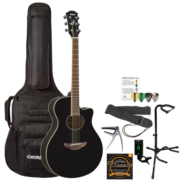 Yamaha APX600 Thin Body Acoustic-Electric Guitar with Gig Bag & Accessories, Black