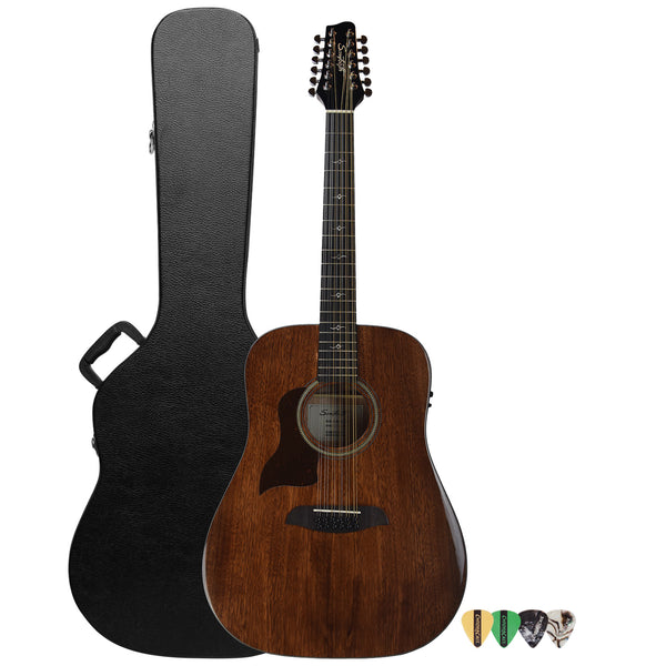 Sawtooth Mahogany Series Left-Handed 12-String Solid Mahogany Top Acoustic-Electric Dreadnought Guitar with Hard Case and Pick Sampler