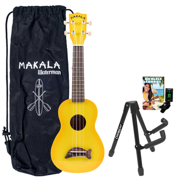 Kala MK-SD/YLBRST Makala Dolphin Series Ukulele in Yellow Burst with Stand, Clip-On Tuner, Bag & Lesson-Chord Guide