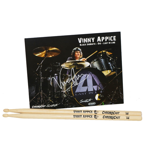 ChromaCast Vinny Appice Signature Drumsticks & Signed Poster Bundle