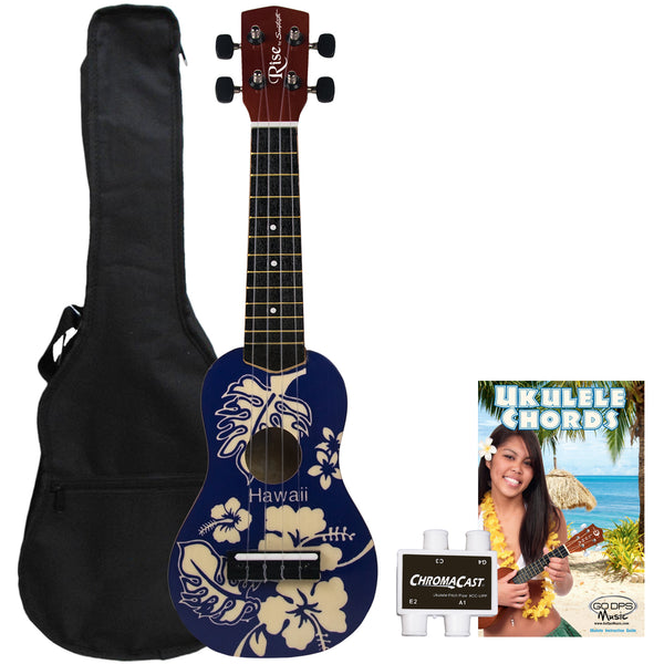 Rise by Sawtooth Beginner's Ukulele Pack, Blue Hawaii