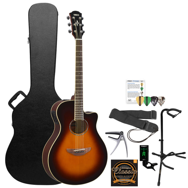 Yamaha APX600 Thin Body Acoustic-Electric Guitar with Hard Case and Accessories, Old Violin Sunburst