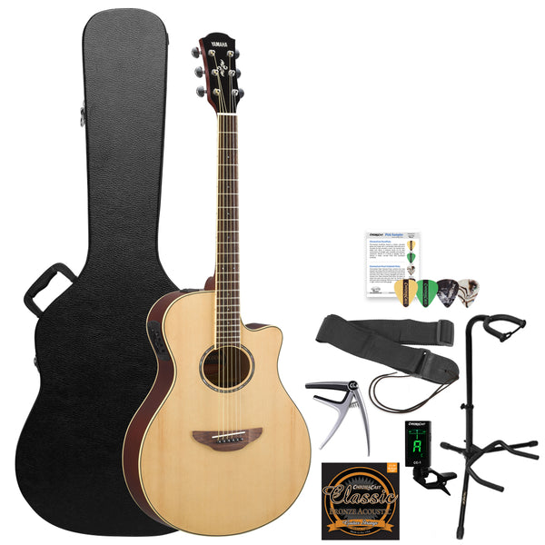 Yamaha APX600 Thin Body Acoustic-Electric Guitar with Hard Case & Accessories, Natural