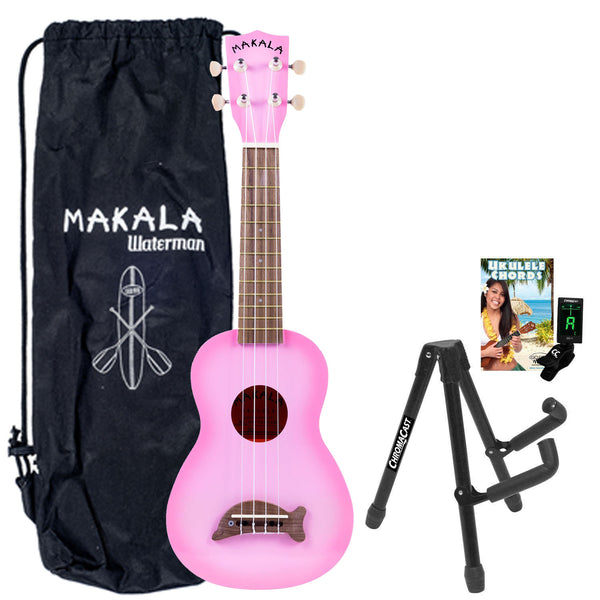 Kala MK-SD/PKBURST Pink Burst Soprano Dolphin Series Ukulele with Stand, Clip-On Tuner, Bag & Lesson-Chord Guide