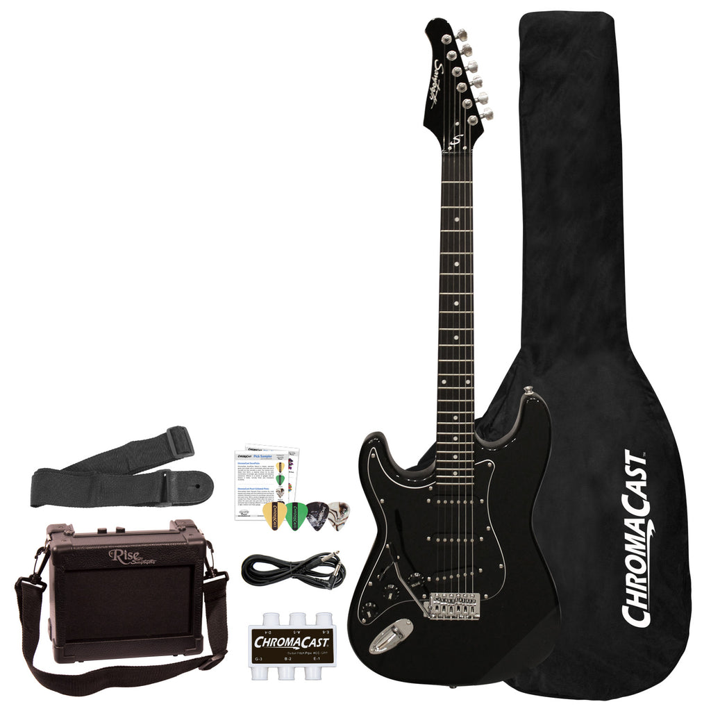 Sawtooth ES Series Beginner's Left-Handed Electric Guitar with Guitar Bag, Amp, and Accessories, Black with Black Pickguard