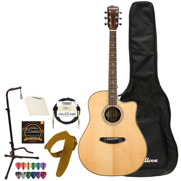 Breedlove Stage Dreadnought CE Sitka Spruce-Mahogany Acoustic-Electric Guitar with ChromaCast Acces
