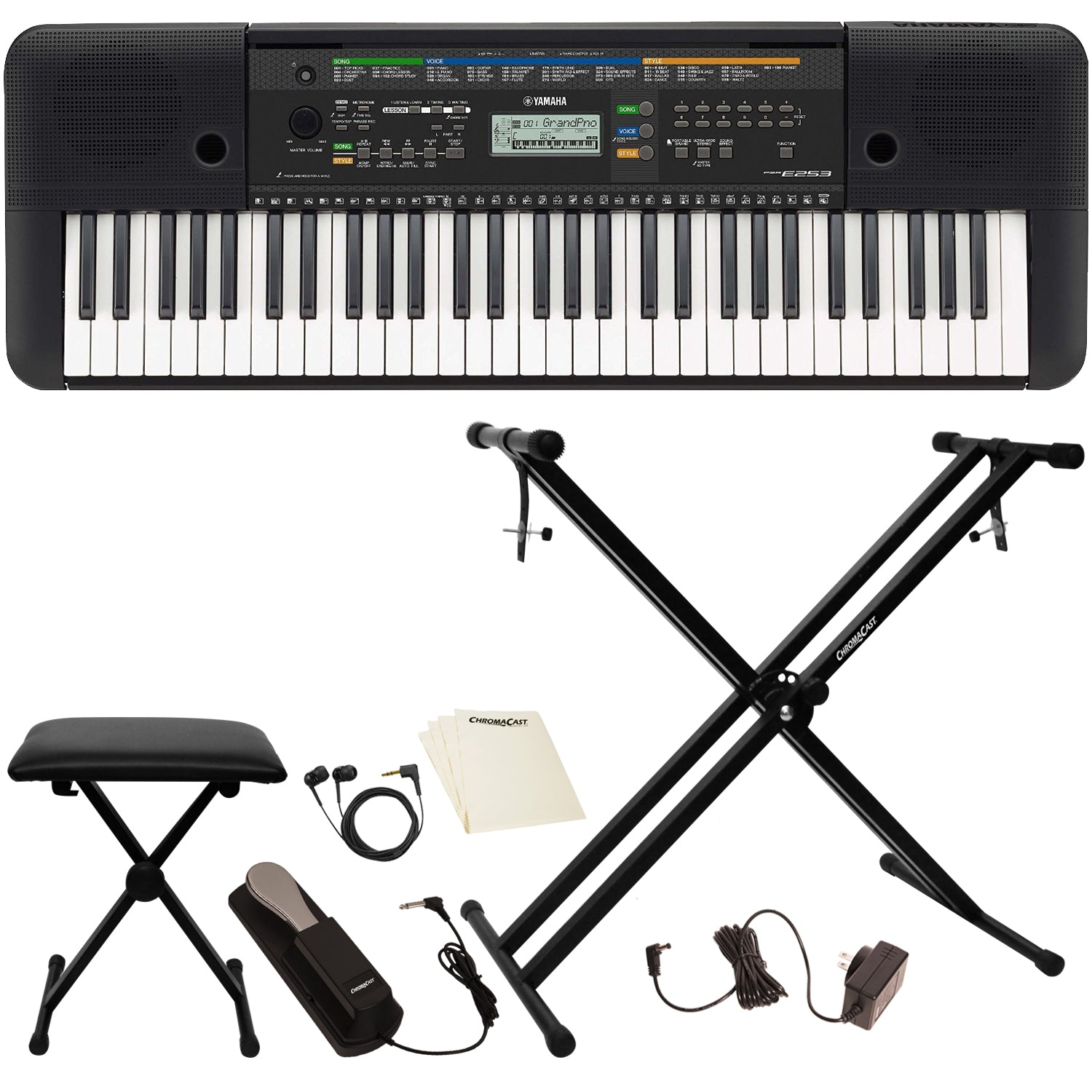 Yamaha Psre253 61 Key Portable Keyboard With Accessories
