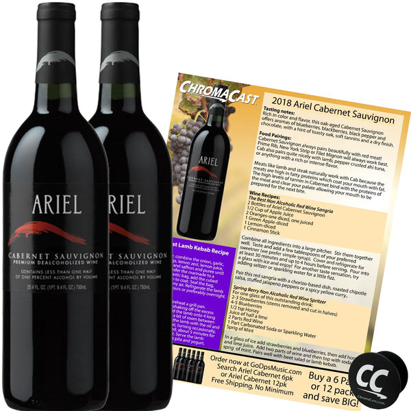 Ariel Cabernet Non-Alcoholic Red Wine Experience Bundle with Chromacast Pop Socket, Seasonal Wine Pairings & Recipes, 2 Pack