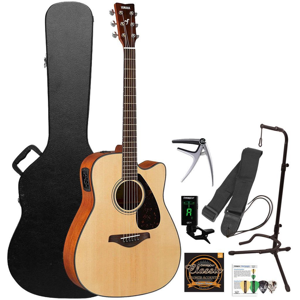 yamaha fgx800c solid top cutaway acoustic electric guitar with accesso godpsmusic. Black Bedroom Furniture Sets. Home Design Ideas