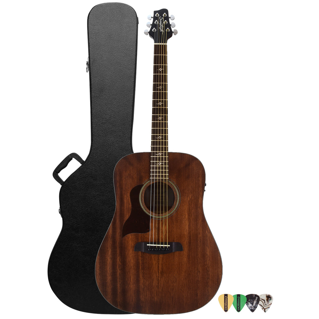 Sawtooth Mahogany Series Left-Handed Solid Mahogany Top Acoustic-Electric Dreadnought Guitar with Hard Case and Pick Sampler