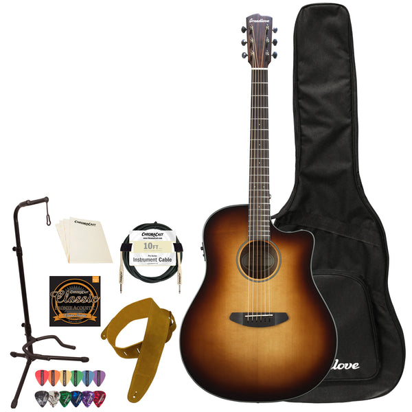 Breedlove Discovery Dreadnought CE Sitka-Mahogany Acoustic-Electric Guitar with ChromaCast Accessories, Sunburst