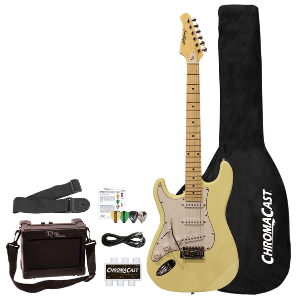 Sawtooth ES Series Beginner's Left-Handed Electric Guitar with Guitar Bag, Amp, and Accessories, Vanilla Cream with White Pickguard