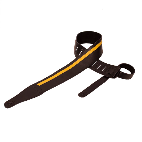 ChromaCast Speed Series Leather Racing Stripe Guitar Strap, Black with Yellow