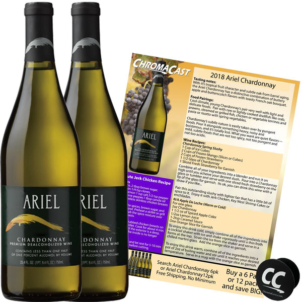 Ariel Chardonnay Non-Alcoholic White Wine Experience Bundle with Chromacast Pop Socket, Seasonal Wine Pairings & Recipes, 2 Pack
