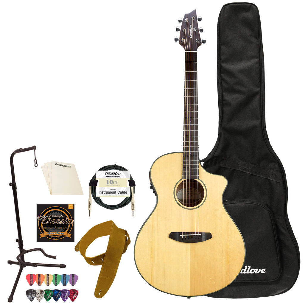 Breedlove Discovery Concert CE Sitka-Mahogany Acoustic-Electric Guitar with ChromaCast Accessories